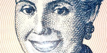 Eva Peron on 2 Pesos 2001 Banknote from Argentina. Less than 30 percent of the banknotes is visible.